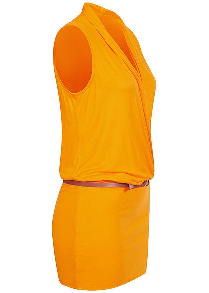 Seventyseven Lifestyle Damen V-Neck Viskose Kleid inkl. Gürtel Wickeloptik mango gelb