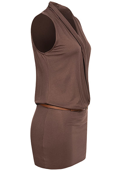 Seventyseven Lifestyle Damen V-Neck Viskose Kleid inkl. Gürtel Wickeloptik braun