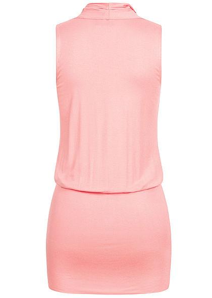 Seventyseven Lifestyle Damen V-Neck Viskose Kleid inkl. Gürtel Wickeloptik rosa