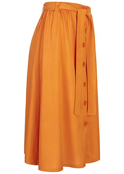 Eight2Nine Damen Midi Rock mit Knopfleiste und Bindegürtel autumn orange