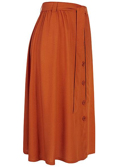 Eight2Nine Damen Midi Rock mit Knopfleiste und Bindegürtel autumn copper braun
