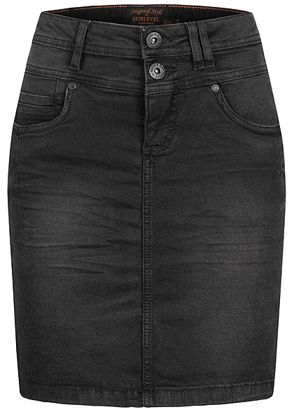 Sublevel Damen Mini Jeans Rock 5-Pockets 2er Knopfleiste schwarz denim