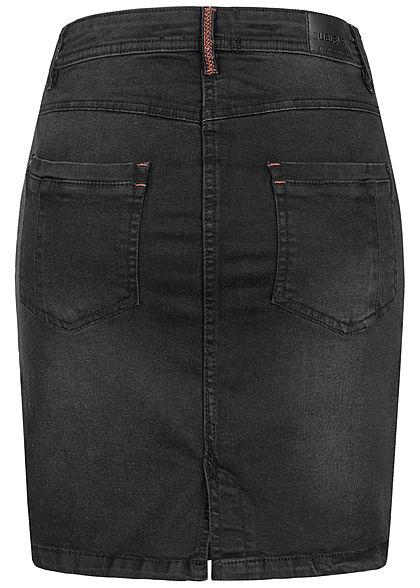 Sublevel Damen Mini Jeans Rock 5-Pockets 2er Knopfleiste schwarz denim