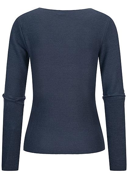 Stitch and Soul Damen Nice Cosy V-Neck Pullover Vokuhila navy blau
