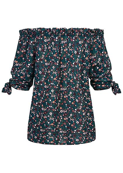 Eight2Nine Damen 3/4 Arm Carmen Off-Shoulder Bluse Blumen Print night navy blau