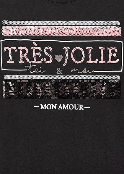 Sublevel Damen Viskose T-Shirt mit Paillettenfront Amour schwarz gold