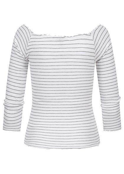 Eight2Nine Damen 3/4 Arm Rib Carmen Frill Shirt Streifen Muster weiss grau