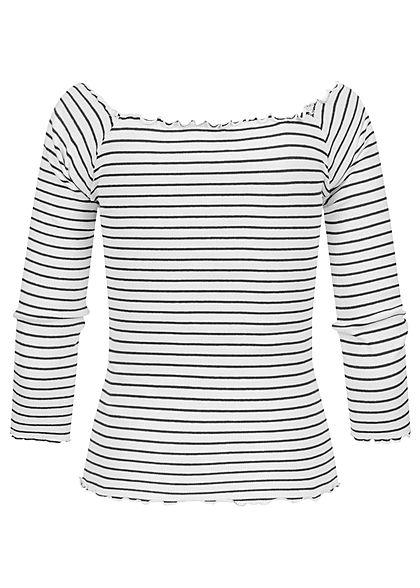 Eight2Nine Damen 3/4 Arm Rib Carmen Frill Shirt Streifen Muster weiss schwarz