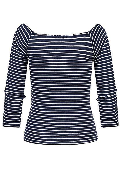 Eight2Nine Damen 3/4 Arm Rib Carmen Frill Shirt Streifen Muster navy blau weiss