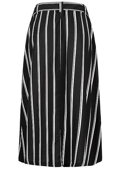 Eight2Nine Damen Midi Rock Knopfleiste Bindegürtel Streifen Muster schwarz weiss