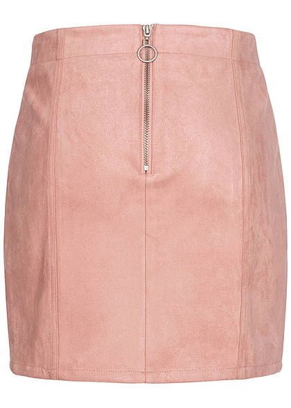 Eight2Nine Damen Kunstleder Mini Rock Zipper hinten Teilungsnähte rosa