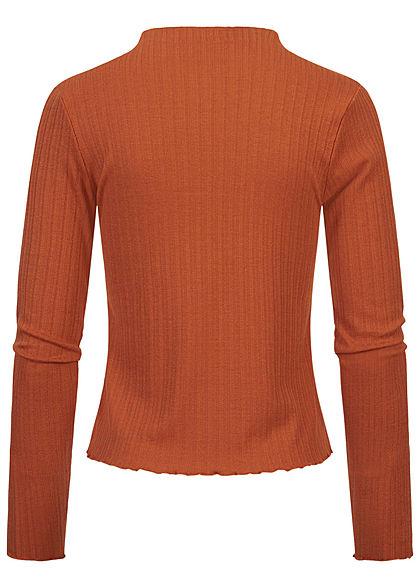 Sublevel Damen Ribbed Frill Longsleeve Pullover High-Neck auburn braun