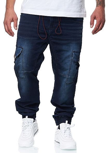 Urban Surface Herren Cargo Jeans 7-Pockets dunkel blau denim - Art.-Nr.: 20094199