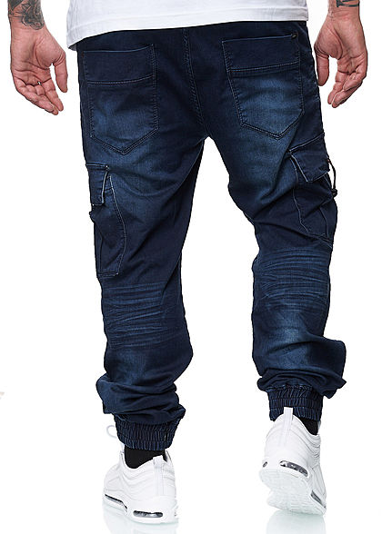 Urban Surface Herren Cargo Jeans 7-Pockets dunkel blau denim