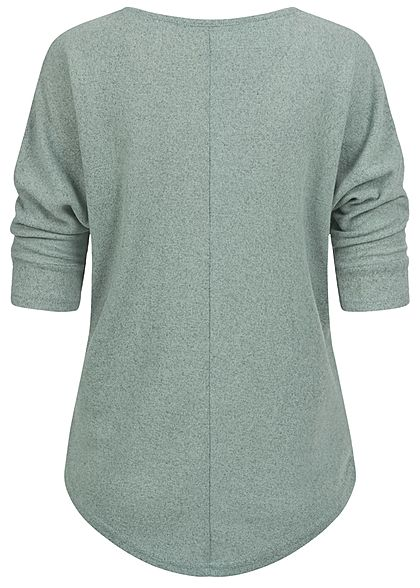 Hailys Damen 3/4 Fledermausarm V-Neck Melange Shirt Vokuhila jade grün