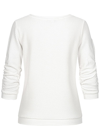 Tom Tailor Damen 3/4 Arm Struktur Pullover Sweater off weiss