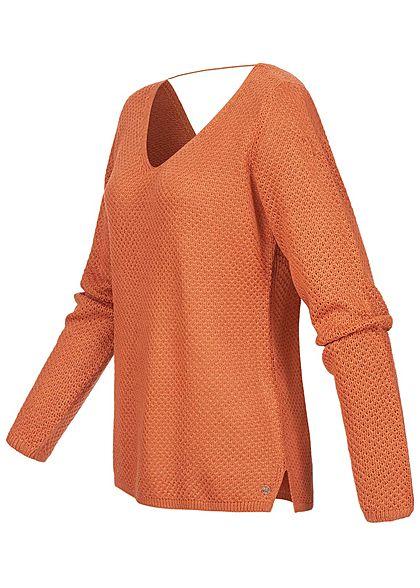 Tom Tailor Damen V-Neck Struktur Strickpullover burnt coral orange