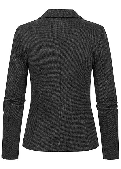 Tom Tailor Damen Struktur Blazer 2 Deko Zip-Pockets Knopf houndstooth dunkel grau