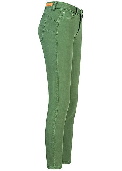 Tom Tailor Damen Ankle Skinny Jeans Hose Push-Up Effekt 5-Pockets vintage grün