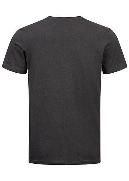 Tom Tailor Herren T-Shirt Logo Print 1962 phantom dunkel grau pink