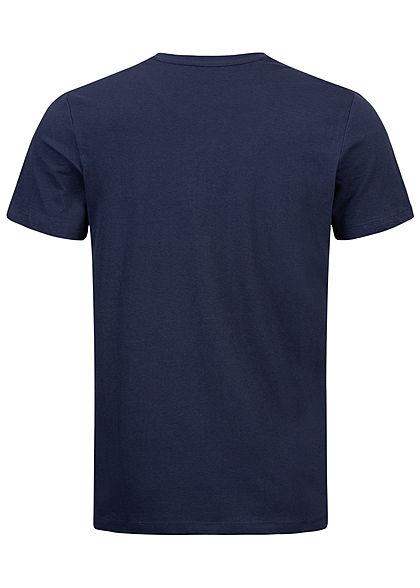 Tom Tailor Herren T-Shirt Logo Print iris blau weiss