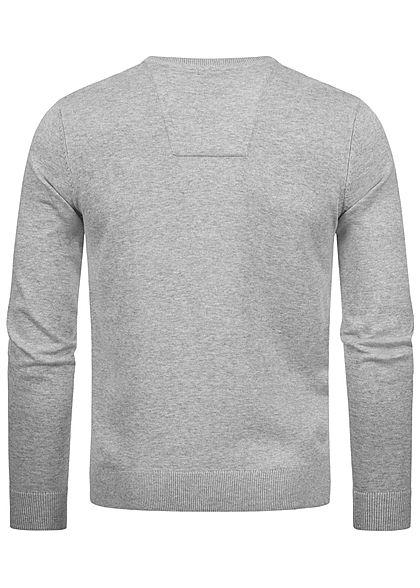 Tom Tailor Herren Basic V-Neck Sweater Pullover breite Rippbündchen hell grau