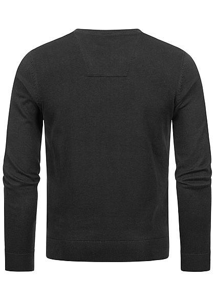 Tom Tailor Herren Basic V-Neck Sweater Pullover breite Rippbündchen schwarz