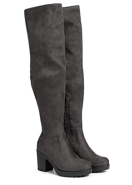 Seventyseven Lifestyle Damen Schuh Kunstleder Stiefel Blockabsatz 8cm dunkel grau