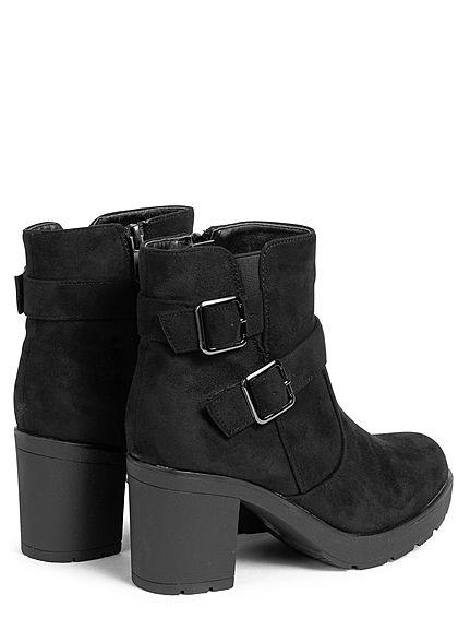 Seventyseven Lifestyle Damen Schuh Kunstleder Stiefelette Blockabsatz Schnalle schwarz
