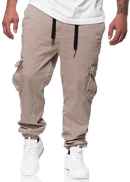 Urban Surface Herren Cargo Jeans Hose 6-Pockets Kontrast Tunnelzug string beige