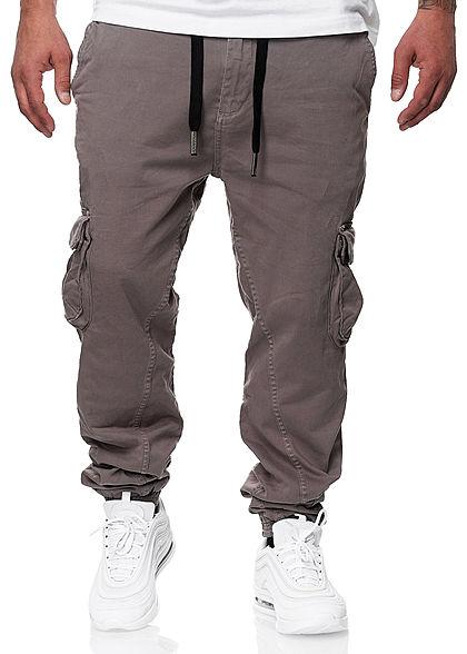 Urban Surface Herren Cargo Jeans Hose 6-Pockets Kontrast Tunnelzug warm dunkel grau