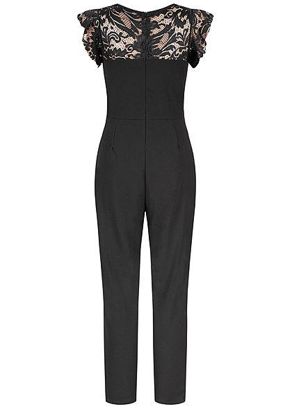 Hailys Damen Spitzen Jumpsuit  2-Pockets Zipper hinten schwarz