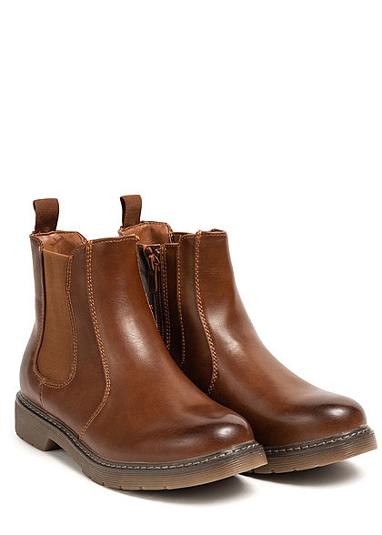 Seventyseven Lifestyle Damen Schuh Kunstleder Halbstiefel Worker Boots camel braun