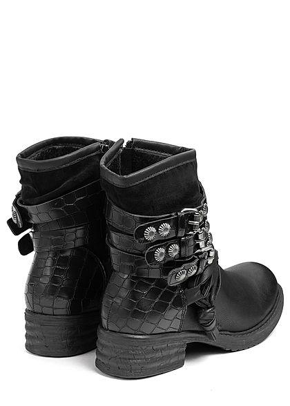 Seventyseven Lifestyle Damen Schuh Kunstleder Halbstiefel Worker Boots schwarz