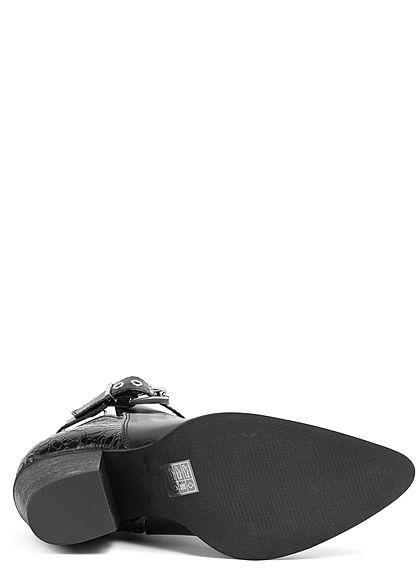 Seventyseven Lifestyle Damen Schuh Kunstleder Stiletto Blockabsatz 8cm schwarz