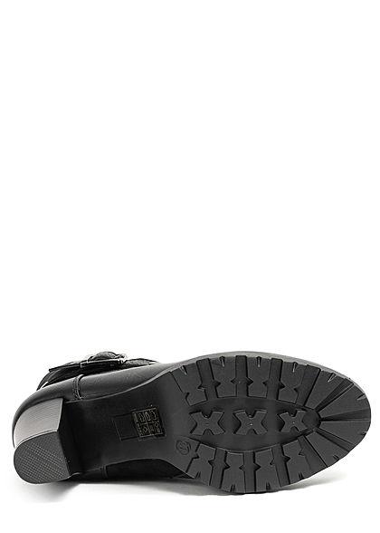 Seventyseven Lifestyle Damen Schuh Kunstleder Halbstiefel Blockabsatz 8cm schwarz