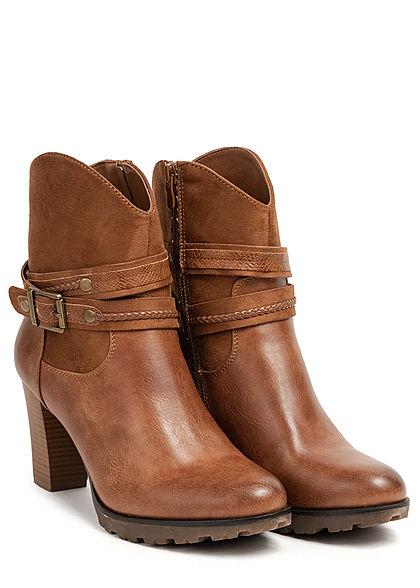 Seventyseven Lifestyle Damen Schuh Kunstleder Halbstiefel Blockabsatz 8cm camel braun