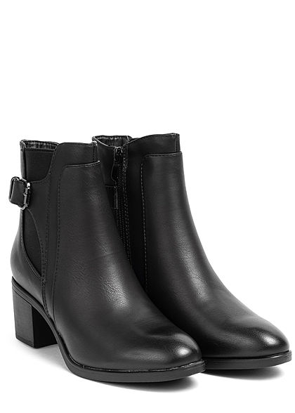Seventyseven Lifestyle Damen Schuh Kunstleder Halbstiefel Blockabsatz 6cm schwarz