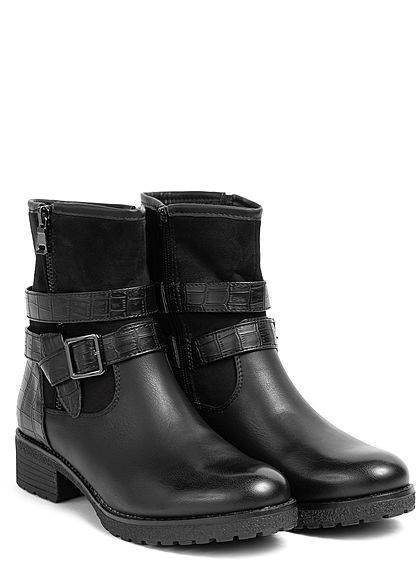 Seventyseven Lifestyle Damen Schuh Kuntsleder Halbstiefel Blockabsatz 6cm schwarz