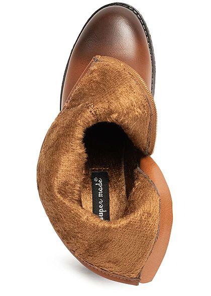 Seventyseven Lifestyle Damen Schuh Kunstleder Halbstiefel Blockabsatz 6cm camel braun