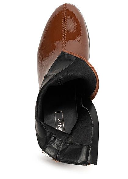 ONLY Damen Schuh Stiefelette 2-Zipper Absatz 6cm Glanz Optik cognac braun