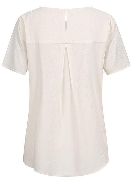 Tom Tailor Damen Oversized Struktur Blusen Shirt Vokuhila gardenia weiss