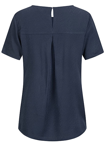 Tom Tailor Damen Oversized Struktur Blusen Shirt Vokuhila real navy blau