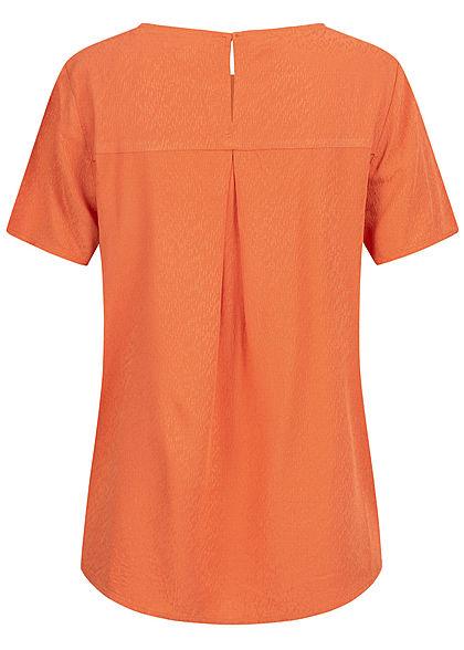 Tom Tailor Damen Oversized Struktur Blusen Shirt Vokuhila burnt coral orange
