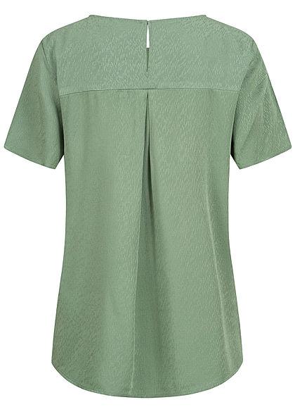 Tom Tailor Damen Oversized Struktur Blusen Shirt Vokuhila vintage grün