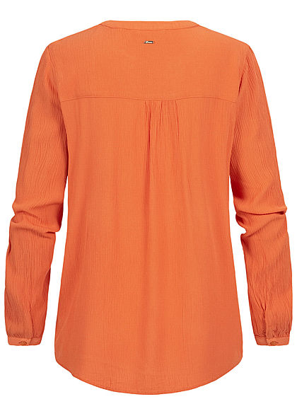 Tom Tailor Damen V-Neck Krepp Langarm Bluse Tunika burnt coral orange