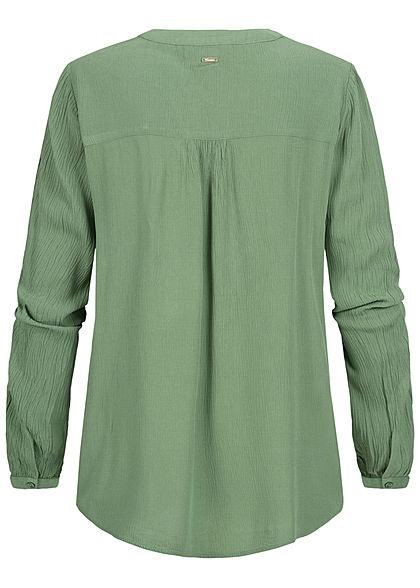 Tom Tailor Damen V-Neck Krepp Langarm Bluse Tunika vintage grün