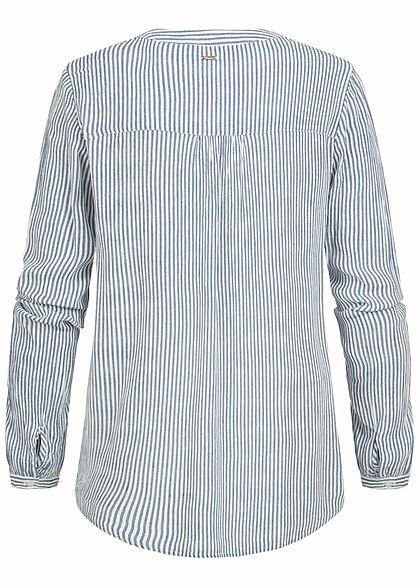 Tom Tailor Damen V-Neck Krepp Langarm Bluse Tunika Streifen Muster medium blau weiss
