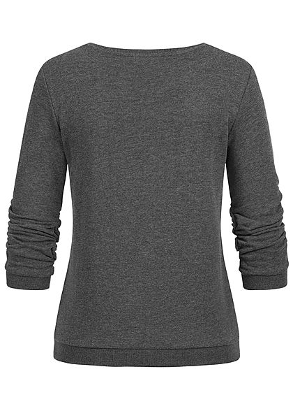 Tom Tailor Damen 3/4 Arm Pullover Sweater Logo Print shale dunkel grau melange