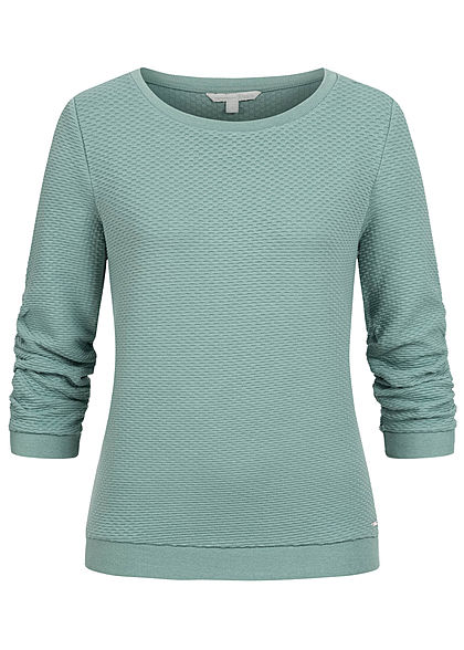 Tom Tailor Damen 3/4 Arm Struktur Pullover Sweater mineral stone blau türkis - Art.-Nr.: 20094269